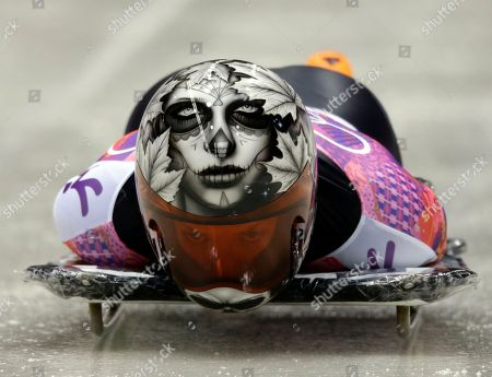 Sarah Reid of Canada starts her final run during the women's skeleton competition at the 2014 Winter Olympics, in Krasnaya Polyana, Russia