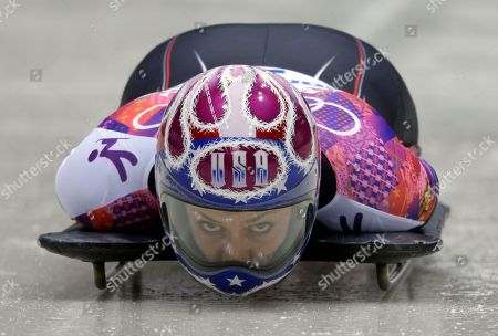 Noelle Pikus-Pace of the United States starts her final run during the women's skeleton competition at the 2014 Winter Olympics, in Krasnaya Polyana, Russia. Pikus-Pace won the silver medal