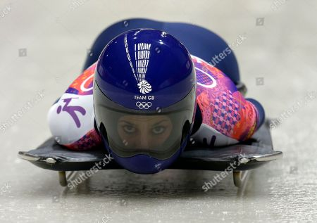 Shelley Rudman of Great Britain starts her third run during the women's skeleton competition at the 2014 Winter Olympics, in Krasnaya Polyana, Russia