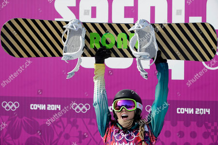 Australia's Torah Bright reacts after a seeding run during women's snowboard cross competition at the Rosa Khutor Extreme Park, at the 2014 Winter Olympics, in Krasnaya Polyana, Russia