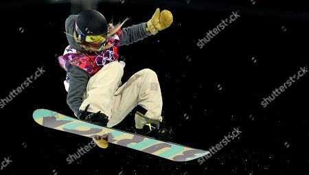 United States' Hannah Teter competes during the women's snowboard halfpipe final at the Rosa Khutor Extreme Park, at the 2014 Winter Olympics, in Krasnaya Polyana, Russia