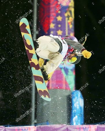 Stock Image of United States' Hannah Teter competes during the women's snowboard halfpipe final at the Rosa Khutor Extreme Park, at the 2014 Winter Olympics, in Krasnaya Polyana, Russia