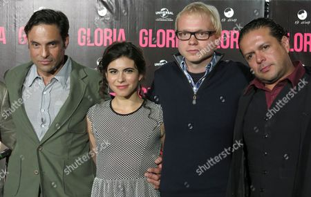 "Producer Matthias Ehrenberg, left, Mexican actress Sofia Espinosa, second from left, Swiss director Christian Keller, second from right, and Mexican actor Marco Pérez, pose for pictures during a press conference to present the film ""Gloria"" in Mexico City on . The movie is based on the life of Mexican pop singer Gloria Trevi"