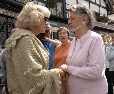 Camilla, Duchess of Cornwall talks to resident Sue Davies