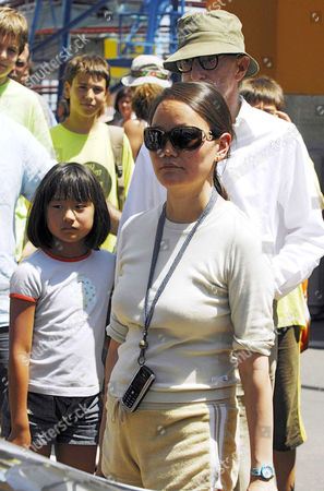 Woody Allen and daughter Manzie Tio with wife Soon-Yi Previn