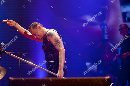Andrew Fletcher, Dave Gahan Singer Dave Gahan, left, and keyboarder Andrew Fletcher from the British band Depeche Mode performs at Palacio de los Deportes in Madrid, Spain