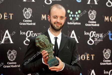 "Fernando Franco Spanish director Fernando Franco holds his Goya trophy after winning the best new director award by the film ""La Herida"" at the Goya Film Awards Ceremony in Madrid, Spain"