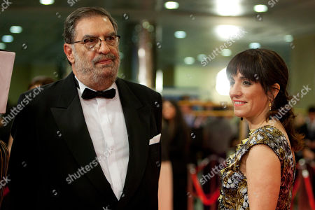 Stock Picture of Enrique Gonzalez, Judith Colell President of the Spanish Academy of Cinema Enrique Gonzalez, left, and Judith Colell on the red carpet before the Goya Film Awards Ceremony in Madrid, Spain