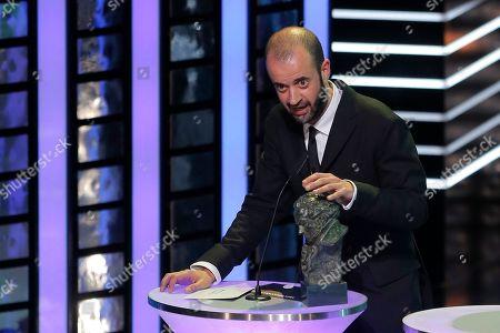 "Fernando Franco Spanish director Fernando Franco speaks after winning the Best New Director for his film ""La herida"" during the annual Goya film awards in Madrid, Spain"
