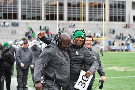 nd, .North Texas Coach's Brandin Byrd and Brad Davis celebrate a victory on the sidelines during an NCAA College football game between the North Texas Mean Green Eagles vs Army Black Knights at Michie Stadium in West  Point, NY