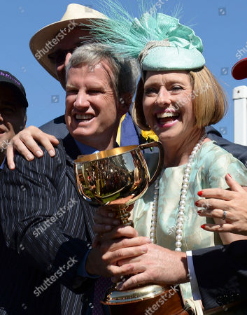 Andrew Roberts, Gai Waterhouse Managing owner Andrew Roberts, left, and trainer Gai Waterhouse pose with the trophy after their Fiorente, ridden by Australian jockey Damien Oliver, won the Melbourne Cup horse race at Flemington Racecource in Melbourne, Australia