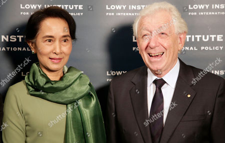 Aung San Suu Kyi Myanmar pro-democracy leader Aung San Suu Kyi, left, is met by Frank Lowy as she arrives at the Lowy Institute in Sydney, . The National League for Democracy lawmaker is on a five-day trip to Sydney, Melbourne and Canberra and will make a number of speeches