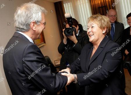 Pauline Marois, Kris Peeters Quebec Premier Pauline Marois, right, is welcomed by Flanders Minister-President Kris Peeters at his office in Brussels