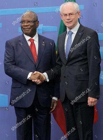 Herman Van Rompuy, Dioncounda Traore European Council President Herman Van Rompuy, right, welcomes Mali's President Dioncounda Traore, prior to a meeting at the European Council building in Brussels, . Traore is on a visit to meet with various EU and Belgian officials