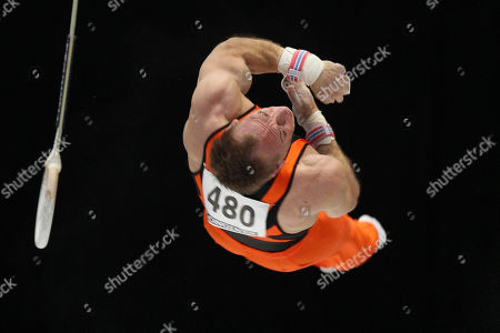Yuri van Gelder of The Netherlands performs on the rings during the apparatus final at the Artistic Gymnastics World Championships in Antwerp, Belgium