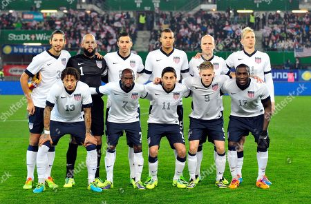 Omar Gonzalez, Tim Howard, Geoff Cameron, John Brooks, Michael Bradley, Brek Shea, Jermaine Jones, DaMarcus Beasley, Alejandro Bedoya, Aron Johannsson, Jozy Altidore The United States national soccer team poses prior to the start their friendly soccer match between Austria and the United States in Vienna, Austria. Background from left: Omar Gonzalez, Tim Howard, Geoff Cameron, John Brooks, Michael Bradley and Brek Shea. Foreground from left: Jermaine Jones, DaMarcus Beasley, Alejandro Bedoya, Aron Johannsson and Jozy Altidore. The draw for the 2014 World Cup finals takes place near Salvador, Brazil. The 32 teams will be drawn into eight groups of four. The top two in each group will progress to the knockout stages. Twelve stadiums in twelve cities will host matches
