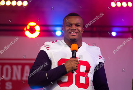 Lawrence Okoye San Francisco 49ers injured British defensive end Lawrence Okoye speaks as he is interviewed on stage during an NFL fan rally in Trafalgar Square, London, . The San Francisco 49ers are due to play the the Jacksonville Jaguars at Wembley stadium in London on Sunday, Oct. 27 in a regular season NFL game