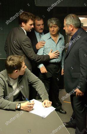 'Donovan' - Joe Donovan [Tom Conti], Seth Donovan [Ryan Cartwright], Bruce Corrigan [James Midgley](Left),  Pete Moss [David Fleeshman] (right).