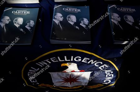 Jimmy Carter Packets containing declassified documents by the Central Intelligence Agency used by Former President Jimmy Carter in his preparation to negotiate what became the first treaty between the Jewish state of Israel and Egypt, sit on a table at an event marking the declassification at the Carter Center, in Atlanta. The CIA has declassified 1,400 pages of intelligence related to the Camp David Accords that former President Jimmy Carter negotiated in 1978 with the leaders of Israel and Egpyt. The documents include political and personality profiles of Egyptian President Anwar Sadat and Israeli Prime Minister Menachem Begin that Carter read before the 13-day summit at the presidential retreat