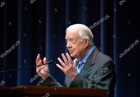Jimmy Carter Former President Jimmy Carter speaks at an event marking the declassifying of documents used in his preparation to negotiate what became the first treaty between the Jewish state of Israel and Egypt, at the Carter Center, in Atlanta. The Central Intelligence Agency has declassified 1,400 pages of intelligence related to the Camp David Accords that Carter negotiated in 1978 with the leaders of Israel and Egpyt. The documents include political and personality profiles of Egyptian President Anwar Sadat and Israeli Prime Minister Menachem Begin that Carter read before the 13-day summit at the presidential retreat