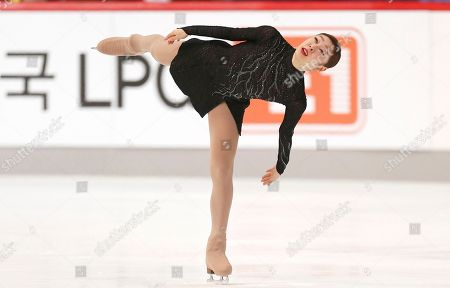 South Korea's Kim Yu-Na performs in the free skating of the Golden Spin figure skating competition in Zagreb, Croatia