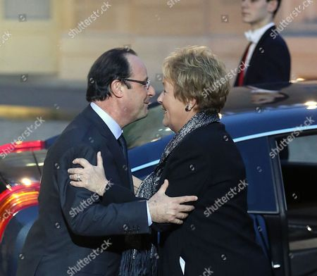 Francois Hollande, Pauline Marois Quebec Prime Minister Pauline Marois, right, takes leave of French President Francois Hollande, at the end of their meeting at the Elysee Palaece in Paris