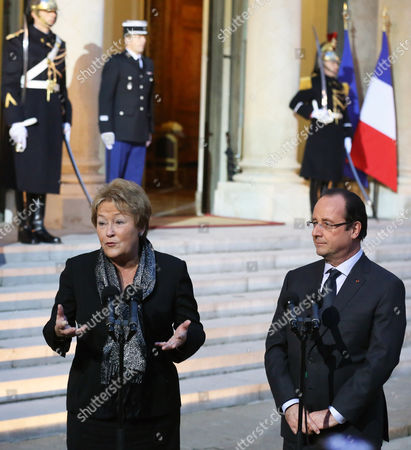 Francois Hollande, Pauline Marois Quebec Prime Minister Pauline Marois, left, and French President Francois Hollande, right, address reporters at the end of their meeting at the Elysee Palaece in Paris