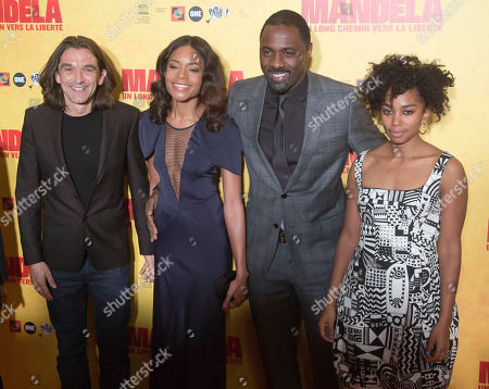 "Stock Picture of Naomie Harris, Idris Elba, Justin Chadwick, Lindiwe Matshikiza From left, British film director Justin Chadwick, left, and British actors Naomie Harris, Idris Elba and Lindiwe Matshikiza, right, pose during a photocall prior to a screening of the film ""Mandela: Long Walk to Freedom"" at the UNESCO headquarters in Paris"