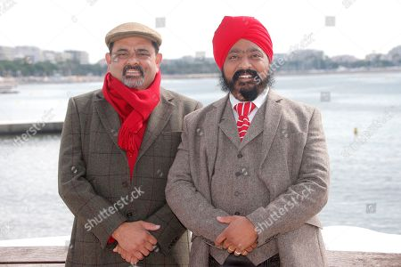 "Indian chefs Cyrus Todiwala, left, and Tony Singh pose during a photo call at the 29th MIPCOM, International Film and Programme Market for Tv, Video,Cable and Satellite, in Cannes, southeastern France, . Cyrus Todiwala and Tony Singh attend MIPCOM, to promote their tv series ""The Incredible Spice Men"