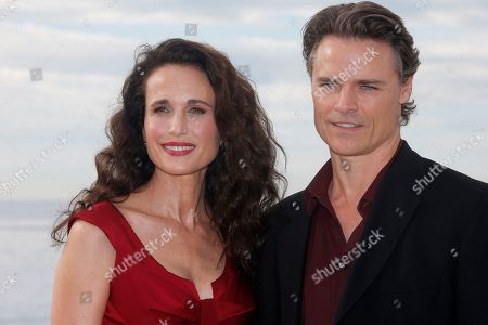 """U.S. actress Andie MacDowell, left, and Canadian actor Dylan Neal pose during a photocall at the 29th MIPCOM (International Film and Programme Market for TV, Video, Cable and Satellite) in Cannes, southeastern France, . Andie MacDowell and Dylan Neal are presenting their new series """"Cedar Cove"""" at the MIPCOM 2013"""