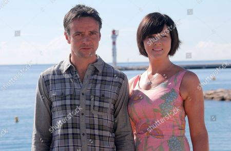 """Welsh actors Richard Harrington and Mali Harries pose during a photocall at the 29th MIPCOM (International Film and Programme Market for Tv, Video,Cable and Satellite) in Cannes, southeastern France, . Richard Harrington and Mali Harries present at the MIPCOM, the new detective drama TV series """"Hinterland"""