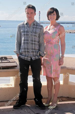 """Welsh actors Richard Harrington and Mali Harries pose during a photocall at the 29th MIPCOM (International Film and Programme Market for TV, Video, Cable and Satellite) in Cannes, southeastern France, . Richard Harrington and Mali Harries attend MIPCOM to promote the new detective drama TV series """"Hinterland"""