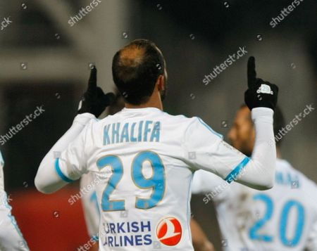Saber Khalifa Marseille's Tunisian forward Saber Khalifa, reacts after scoring against Montpellier, during their League One soccer match, at the Velodrome Stadium, in Marseille, southern France