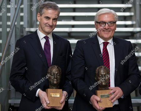 Jonas Gahr Store, Frank-Walter Steinmeier Norway's Former Foreign Minister Jonas Gahr Store and his former German counterpart Frank-Walter Steinmeier pose with the Willy-Brandt-Prize at the Norwegian embassy in Berlin, Germany, . The two former Foreign Ministers were awarded with the prize by the Norwegian-German Willy-Brandt-Foundation in merit of their work for the German-Norwegian relationship