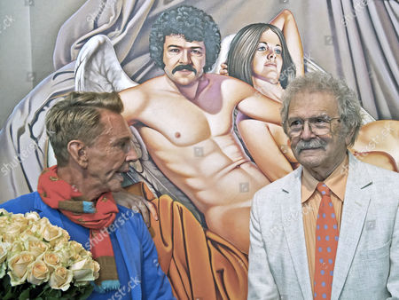 Mel Ramos, Wolfgang Joop U.S. painter Mel Ramos, right, stands in front of his picture 'David's Duo' with German fashion designer and artist Wolfgang Joop during the opening event of the exhibition 'Beauty and the Beast - Richard Mueller and Mel Ramos at the Museum of the Fine Arts (Museum der bildenden Kuenste) in Leipzig, central Germany, . The exhibition starts on Oct. 13, 2013 and last until Jan. 12, 2014