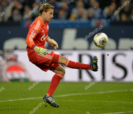 Schalke goalkeeper Timo Hildebrand kicks the ball unsafe in front of his goal during the German Bundesliga soccer match between FC Schalke 04 and SV Werder Bremen in Gelsenkirchen, Germany