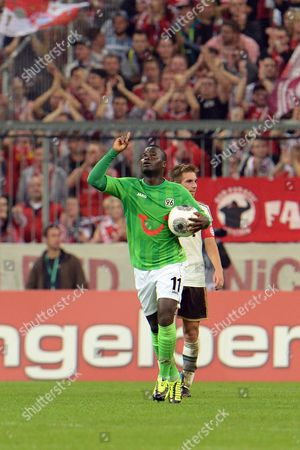Didier Ya Konan Hannover's Didier Ya Konan of Ivory Coast celebrates after scoring during the German soccer cup second round match between FC Bayern Munich and Hannover 96, in Munich, southern Germany