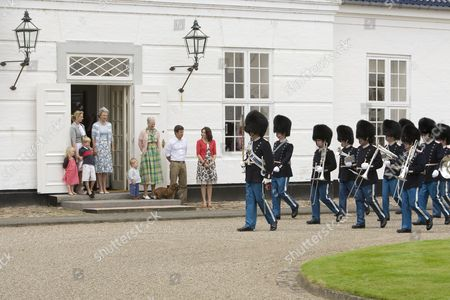 Countess Ingrid Alexandra zu Sayn-Wittgenstein Berleburg, Count Richard zu Sayn-Wittgenstein Berleburg, Princess Benedikte, Prince Christian, Queen Margrethe, Prince Frederik and Princess Mary watching the changing of the guard