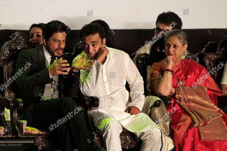 Jaya Bachchan, Shah Rukh Khan, Kamal Haasan Bollywood superstar Shah Rukh Khan, left, speaks to Indian Tamil superstar Kamal Haasan, center, and actress Jaya Bachchan, right, during the inauguration of the Kolkata film festival in Kolkata, India, Sunday, Nov.10, 2013