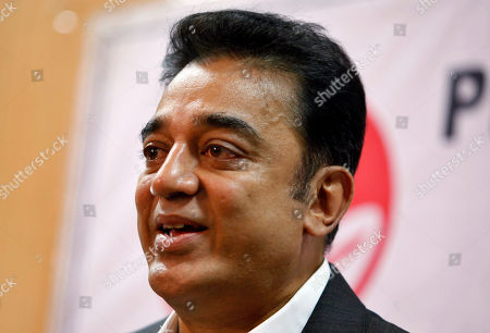 Kamal Haasan Indian actor and filmmaker Kamal Haasan speaks during a press conference in Bangalore, India, . Haasan, 58, has won several awards in his 53-year career working in more than 200 movies after making his debut as a child actor in 1959
