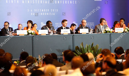 Shahid Bashir, Magali Silva, Francois Kanimba, Stephen Green, Roberto Azevedo, Gita Wiryawan From left, World Trade Organization General Council chairman Shahid Bashir, Peruvian Foreign Trade and Tourism Minister Magali Silva, Rwandan Minister of Trade and Industry Francois Kanimba, British Minister for Trade and Investment Stephen Green, WTO Director-General Roberto Azevedo, of Brazil, Indonesian Minister of Trade Gita Wiryawan, sit during the plenary session of the ninth WTO Ministerial Conference in Bali, Indonesia, . Chances of a breakthrough in global trade negotiations dimmed Wednesday as India refused to budge on food subsidies that are an obstacle to an eleventh-hour agreement at the summit
