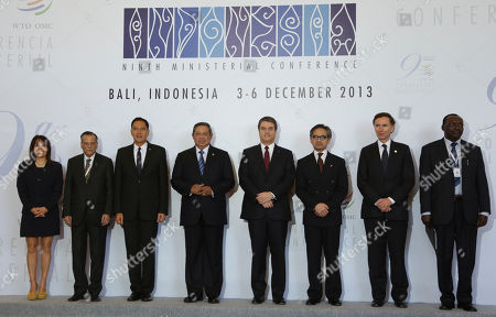 Magali Silva, Shahid Bashir, Gita Wiryawan,Susilo Bambang Yudhoyono, Roberto Azevedo, Marty Natalagawa, Lord Stephen Green, Francois Kanimba From left : Peruvian Foreign Trade and Tourism Minister, Magali Silva, Chair of The General Council WTO Shahid Bashir, Indonesian Minister of Trade Gita Wiryawan, Indonesia President Susilo Bambang Yudhoyono, World Trade Organization, Director General Roberto Azevedo, of Brazil, Indonesian Foreign Minister Marty Natalagawa, British Minister for Trade and Investment Lord Stephen Green, and Rwanda Minister of Trade and Industry Francois Kanimba. pose for photographer during the opening of the Ninth Ministerial Conference of the World Trade Organisation (WTO) in Bali, Indonesia, Dec 2013