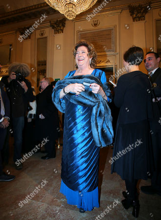 "Bracco Group President Diana Bracco arrives at the Milan La Scala theater, Italy, for the season's opera opening. Milan opera house La Scala is concluding its bicentennial celebrations of Giuseppe Verdi's birth with Daniele Gatti conducting ""La Traviata"" at the gala season opener Saturday. Although ""La Traviata"" is Verdi's most popular opera, it hasn't been performed at La Scala, which was long Verdi's musical home, in more than a decade"