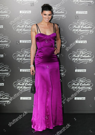 Stock Picture of American model Summer Rayne Oakes poses at the 2014 Pirelli Calendar red carpet event in Milan, Italy, . The calendar debuted in 1964 as a racy way of promoting Italian tire maker Pirelli and has since grown into a fashion institution