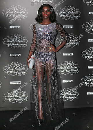 Model Jeneil Williams, of Jamaica, poses at the 2014 Pirelli Calendar red carpet event in Milan, Italy, . The calendar debuted in 1964 as a racy way of promoting Italian tire maker Pirelli and has since grown into a fashion institution