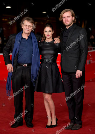 Daniel Pennac, Me´lanie Bernier, Nicolas Bary From left, writer Daniel Pennac, actress Me´lanie Bernier and director Nicolas Bary pose for photographers as they arrives for the screening of the movie 'Au bonheur des ogres', at the 8th edition of the Rome International Film Festival, in Rome