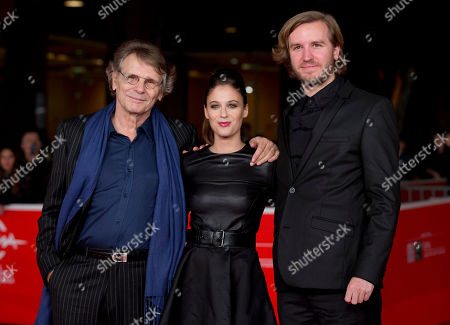 Daniel Pennac, Me´lanie Bernier, Nicolas Bary From left, writer Daniel Pennac, actress Me´lanie Bernier and director Nicolas Bary pose for photographers as they arrive for the screening of the movie 'Au bonheur des ogres', at the 8th edition of the Rome International Film Festival, in Rome