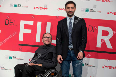 Stock Picture of Mirko Locatelli, Filippo Timi Director Mirko Locatelli, left, and actor Filippo Timi pose for photographers during the photo call for the movie 'I corpi estranei', at the 8th edition of the Rome International Film Festival, in Rome