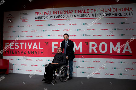 Stock Image of Mirko Locatelli, Filippo Timi Director Mirko Locatelli, left, and actor Filippo Timi pose for photographers during the photo call for the movie 'I corpi estranei', at the 8th edition of the Rome International Film Festival, in Rome
