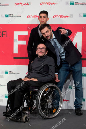 Mirko Locatelli, Filippo Timi, Jaouher From top, actors Jaouher Brahim, Filippo Timi and director Mirko Locatelli pose for photographers during the photo call for the movie 'I corpi estranei', at the 8th edition of the Rome International Film Festival, in Rome
